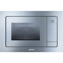 Smeg Linea Silver Glass Built-In Microwave with Electric Grill FMI120