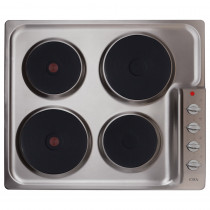 CDA 60cm Side Control Four Plate Stainless Steel Electric Hob HE6051SS