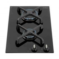 CDA Domino Two Burner Gas on Black Glass Hob HG3602FR