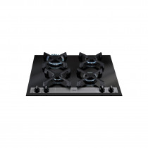 CDA Four Burner Bevelled Glass Gas Hob Black HVG66BL