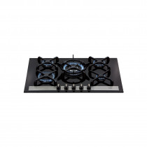 CDA 71.5cm Five Burner Bevelled Glass Gas Hob Black - HVG77BL