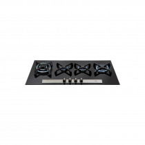 CDA 96cm Linear Four Burner Bevelled Glass Gas Hob HVG93BL