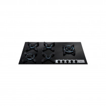 CDA Five Burner 90 Bevelled Glass Gas Hob Black HVG96BL