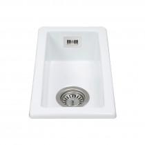 CDA Ceramic Sink Small Single Bowl Undermount Belfast White - KC41WH