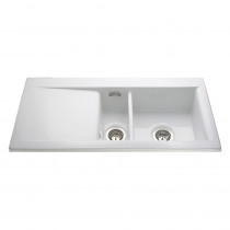 CDA Ceramic One and Half Bowl White Sink KC74WH