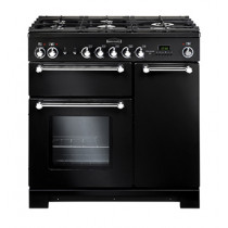 Rangemaster Kitchener 90 Natural Gas Black Range Cooker KCH90NGFBL/C 116750