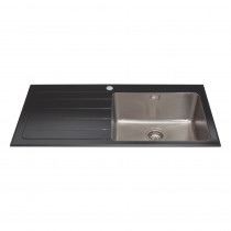CDA Black Glass Single Bowl Sink KVL01LBL