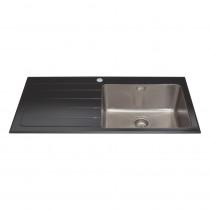 CDA Black Glass Single Bowl Sink KVL01LBL