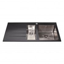 CDA Black Glass One and Half Bowl Sink KVL02LBL