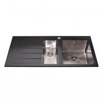 CDA Black Glass One and Half Bowl Sink KVL02LBL