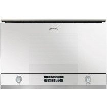 Smeg Linea White Glass Built-In Microwave Oven with Grill MP122B