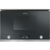 Smeg Linea Black Built-In Microwave Oven with Grill MP122N
