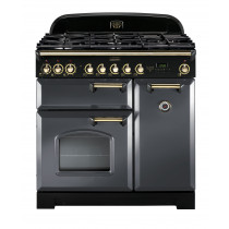 Rangemaster Classic Deluxe 90 Dual Fuel Slate/Brass Trim Range Cooker CDL90DFFSL/B 12415