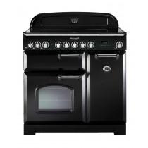 Rangemaster Classic Deluxe 90 Ceramic Black/Chrome Trim Range Cooker CDL90ECBL/C 81630