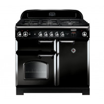 Rangemaster Classic 100 Natural Gas Black/Chrome Trim Range Cooker