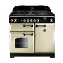 Rangemaster Classic 100 Natural Gas Cream/Chrome Trim Range Cooker CLA100NGFCR/C 117640