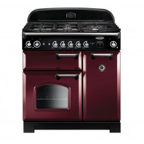 Rangemaster Classic 90 Dual Fuel Cranberry/Chrome Trim Range Cooker