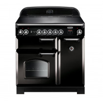Rangemaster Classic 90 Induction Black/Chrome Trim Range Cooker