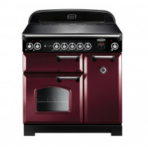 Rangemaster Classic 90 Induction Cranberry/Chrome Trim Range Cooker
