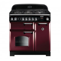 Rangemaster Classic 90 Natural Gas Cranberry/Chrome Trim Range Cooker