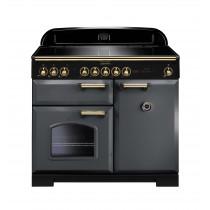 Rangemaster Classic Deluxe 100 Induction Slate/Brass Trim Range Cooker CDL100EISL/B 12422