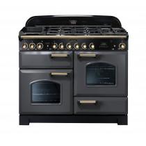 Rangemaster Classic Deluxe 110 Dual Fuel Range Cooker Slate/Brass Trim CDL110DFFSL/B 12425