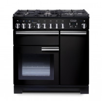Rangemaster Professional Deluxe 90 Dual Fuel Black Range Cooker PDL90DFFGB/C 97600