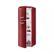 gorenje RF60309 173.7cm Retro Freestanding Metallic Bordeaux Left Hinge Fridge Freezer