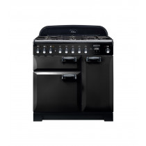Rangemaster Elan Deluxe 90 Dual Fuel Black Range Cooker ELA90DFFBL/ 118100
