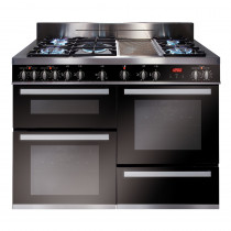 CDA Range Cooker 120 Triple Cavity Electric Oven with Gas Hob and Ceramic Griddle RV1200