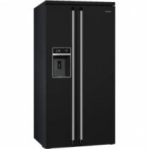 Smeg Victoria Black Freestanding American Style Fridge Freezer SBS963N