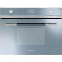 Smeg SF4120MCS Linea Silver Glass Compact Combination Microwave Oven