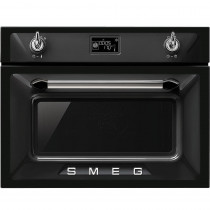 Smeg SF4920MCN Victoria Black Compact Combination Microwave Oven