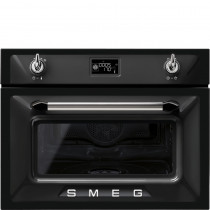 Smeg Victoria 45cm Black Compact Combination Steam Oven SF4920VCN