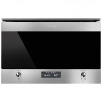 Smeg MP6322X Classic Built-In Stainless Steel and Dark Glass Microwave Oven