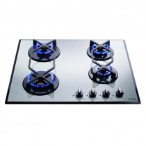 CDA Four Burner Stainless Steel Gas On Glass Hob