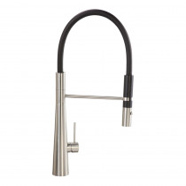 CDA Stainless Steel Single Lever with Black Pull-out Spray Tap TV11SS