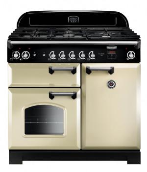 Rangemaster Classic 100 Dual Fuel Cream/Chrome Trim Range Cooker CLA100DFFCR/C 116890
