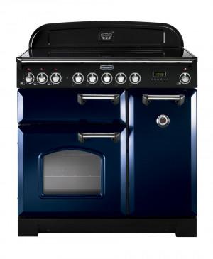 Rangemaster Classic Deluxe 90 Ceramic Regal Blue/Chrome Trim Range Cooker CDL90ECRB/C 114250