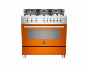 Bertazzoni Professional 90 Single Oven Dual Energy Orange Range Cooker PRO90-6-HYB-S-ART