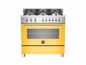 Bertazzoni Professional 90 Single Oven Dual Energy Yellow Range Cooker PRO90-6-HYB-S-GIT