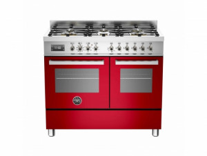 Bertazzoni Professional 100 Double Oven Dual Fuel Red Range Cooker PRO100-6-MFE-D-ROT