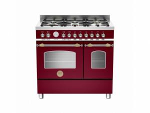 Bertazzoni Heritage 90 Double Oven Dual Fuel Burgundy Range Cooker HER90-6-MFE-D-VIT