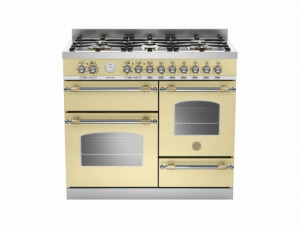 Bertazzoni Heritage 100 Triple Cavity Dual Fuel Cream Range Cooker HER100-6-MFE-T-CRT