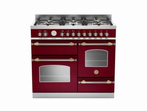 Bertazzoni Heritage 100 Triple Cavity Dual Fuel Burgundy Range Cooker HER100-6-MFE-T-VIT