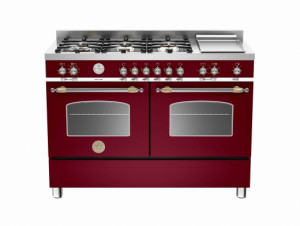 Bertazzoni Heritage 120 Double Oven Dual Fuel Burgundy Range Cooker HER120-6G-MFE-D-VIT
