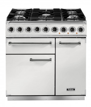 Falcon Deluxe 900 Dual Fuel Ice White/Nickel Range Cooker with Matt Pan Supports