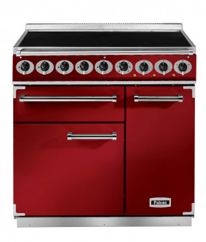 Falcon Deluxe 900 Induction Cherry Red/Nickel Range Cooker