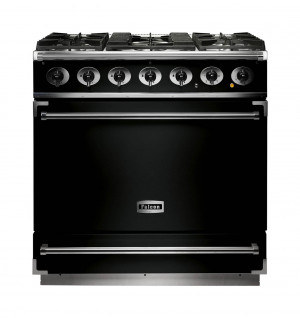 Falcon 900S Dual Fuel Black Range Cooker with Matt Pan Supports