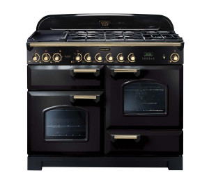 Rangemaster Classic Deluxe 110 Dual Fuel Range Cooker Black/Brass Trim CDL110DFFBL/B 79800